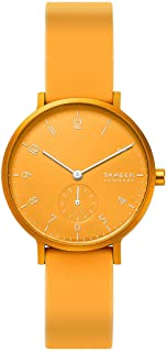Skagen Aaren Women's Yellow Dial Silicone Analog Watch - SKW2808