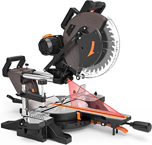 popular 12-inch Sliding Miter Saw, 15Amp, 3800rpm, Double-Bevel online sale Compound Miter online Saw with Laser, Extensible Table, Clamping Device, 40T Blade for Wood Cut - PMS03A outlet online sale