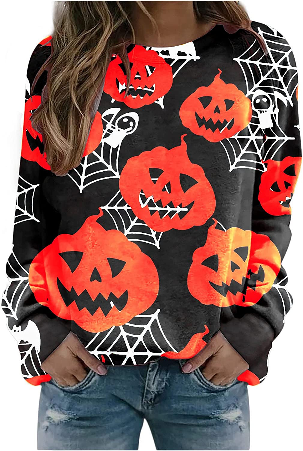 Teen Fashionable Special price for a limited time Girls Funny Cute Graphic Halloween Kawaii Sweatshirt Pumpk