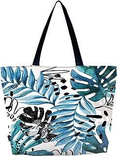 Meffort Inc Lightweight Travel Beach Tote Bag Foldable Reusable Shopping Shoulder Hand Bag, Spring Leaves (Multicolored) - LWSBMED3179