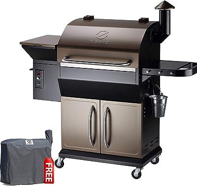 Z GRILLS ZPG-1000D 2020 New Model Wood Pellet Grill & Smoker, 8 in 1 BBQ Grill Auto Temperature Control, 1, 1060 sq in Bronze