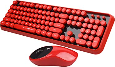 Wireless Keyboard and Mouse Combo, 2.4G Cute Round Mute Keyboard Mouse Set for Laptop, Computer, Mac(Red Black)