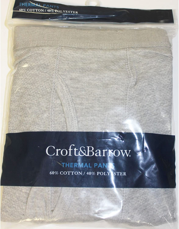Croft & Barrow Mens Grey Thermal Pants - Size