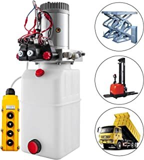 Mophorn 6 Quart Dual Double Acting Hydraulic Pump Dump Trailer Crane Unloading Hydraulic Power Unit Auto Repair Car Lift