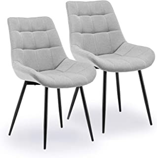 æ— Juego de sillas de comedor, 2 unidades de sillas de cocina, tapizadas de tela, asiento acolchado con patas de metal y respaldo, tocador para dormitorio, muebles de cocina, cafetería