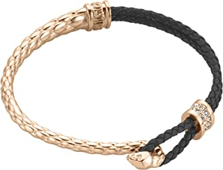 Full Rose Gold Color Bracelet with Black Strap and White Stones - JCFB00190500