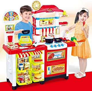 LANTOVI Kids Toy Kitchen Play Set , Perfect Simulation Supermarket Kitchen Game Pretend Kitchen Cooking Food Toys with Friends for Fun Exercise Childs Imagination (Red)