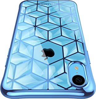 i-Blason Cube Series Case for iPhone XR 6.1 inch, Slim Crystal Clear Flexible TPU Protective Case with Geometric 3D Diamond Pattern (Metallic Blue)