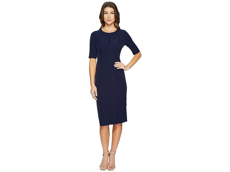 b72308ab Maggy London Dream Crepe Sheath Dress with Elbow Sleeve (Patriot Blue) Women