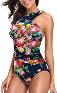 Women's Swimsuits One Piece Tummy Control Front Cross Backless Swimsuit Bathing Suit