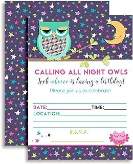 Night Owl Slumber Birthday Party Themed Party Invitations, 20 5