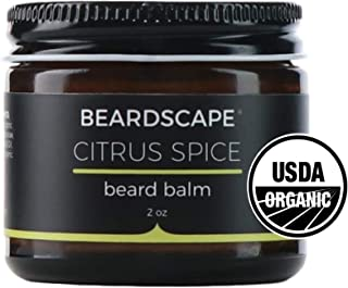 Beardscape Citrus Spice Beard Balm | USDA Organic, 2oz | Tames All Beards | Blend of Essential Oils, Sweet Orange, Vanilla Oil | Softens Facial Hair and Skin | Hydrating Moisturizer, Conditioner