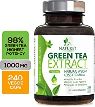 Green Tea Extract 98% Standardized EGCG for Weight Loss 1000mg - Boost Metabolism for Healthy Heart - Antioxidants & Polyphenols - Gentle Caffeine, Fat Burner Pills, Made in USA - 240 Capsules
