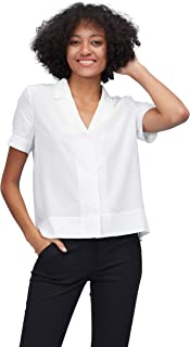 LilySilk Silk Shirts for Womens and Ladies Sexy V Neck Half-Sleeve Notch Button Front Casual Longer Back
