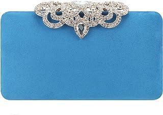 Fawziya Crown Clutch Purse Bling Hard Box Rhinestone Crystal Clutch Bag-Sky Blue