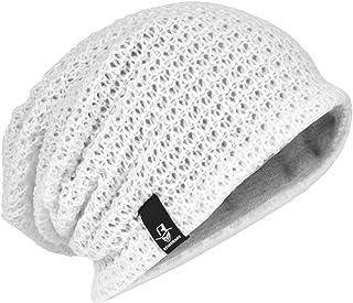 レディースニット帽子 大きめ ニットキャップ オールシーズン ゆったり ゆるシルエットのニット帽 編み織の帽子 ビーニー 無地 伸縮性 ロング ラインリング H-B08