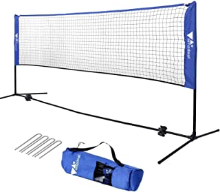 amzdeal Portable Badminton Net 14ft/17ft Freestanding Net Set Adjustable Height for Playing Volleyball, Tennis, Badminton Ideal Use for Indoor Outdoor Court, Backyard, Beach, Driveway