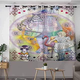DGGO Doorway Curtains,in Wonderland Magical Fantasy World of Adventure Clock Flamingo Cheshire Cat Rabbit Retro,Great for Living Rooms & Bedrooms,W63x45LMulti
