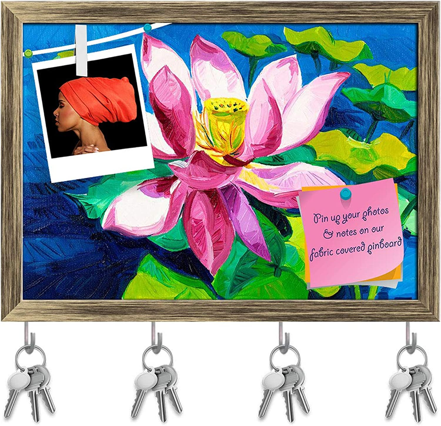 Artzfolio Beautiful Water Lily D3 Key Holder Hooks   Notice Pin Board   Antique golden Frame 16.7 X 12Inch