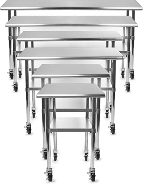 GRIDMANN NSF Stainless Steel Commercial Kitchen Prep Work Table W 4 Casters Wheels 72 In X 30 In