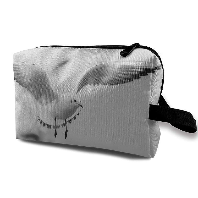 原点家禽ツインレディース 化粧ポーチ トラベル収納ポーチ トイレタリーバッグ カモメプリント コスメ メイクポーチ ハンドバッグ 大容量 化粧品 鍵 小物入れ 軽い