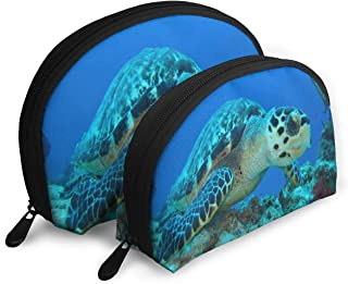Makeup Bag Small Turtle Resting On A Coral Portable Half Moon Travel Bags Set Case For Women,Girls 2 Piece