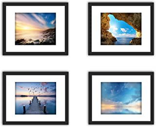 XUFLY 4Pcs 11x14 Tempered Glass Wood Frame Black, with 3X Mat Fit for 8x10 5x7 4x6 inch Family Photo Kid Picture, Desktop On Wall Vertical Horizontal Support Office Decoration Landscape Sea Sky Cave