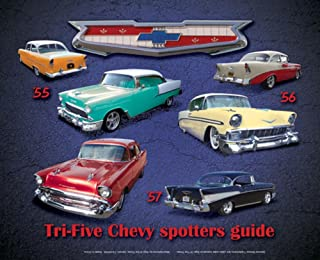 Tri Five Chevy Spotter Guide Tin Sign 15 x 12in