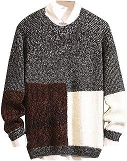 Stoota Men's Casual Long Sleeve Patchwork Knitting Sweater, Warm Soft Autumn Winter Round Neck Regular Fit Blouse M-3XL