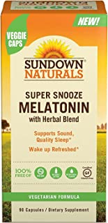 Sundown Naturals Super Snooze Melatonin, 90 Capsules Each (Pack of 2)