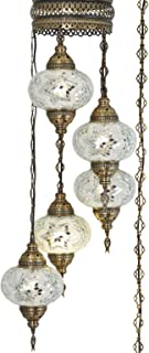 (10 Colors) Swag Plug in Light, Demmex 5 Big Globes Turkish Moroccan Mosaic Tiffany Swag Wall Plug in Ceiling Hanging Light Chandelier Lighting, 15feet Chain Cord North American Plug (White)