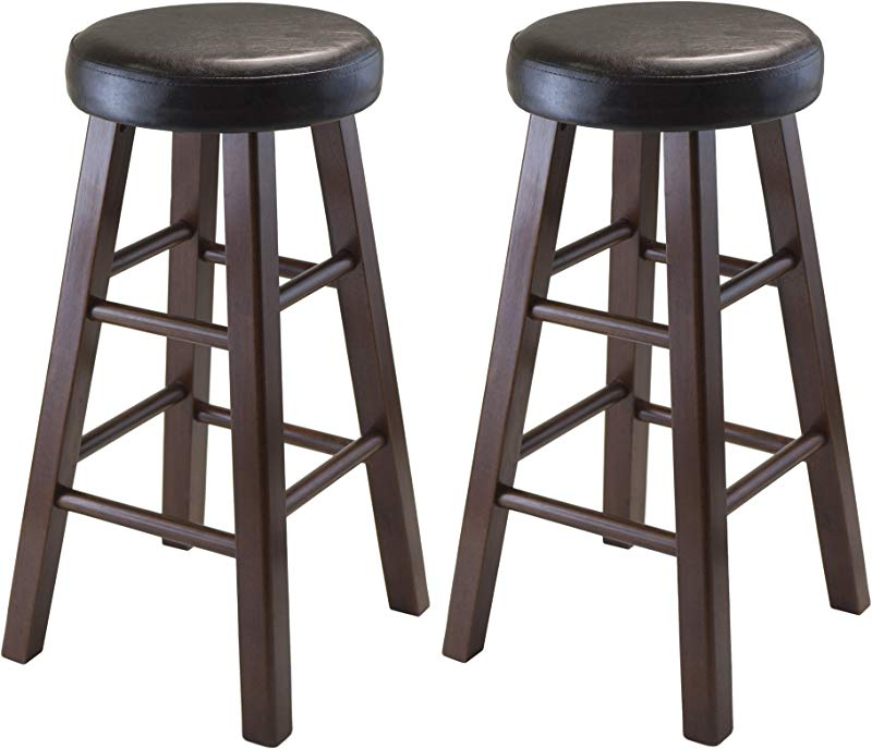 Winsome Wood Marta Assembled Round Counter Stool With PU Leather Cushion Seat Square Legs 25 4 Inch Set Of 2