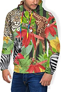 Zebra Animals in Jungle Pullover Hoodie for Men Heavyweight Hooded Shirts Comfy Pull Over Hoodie