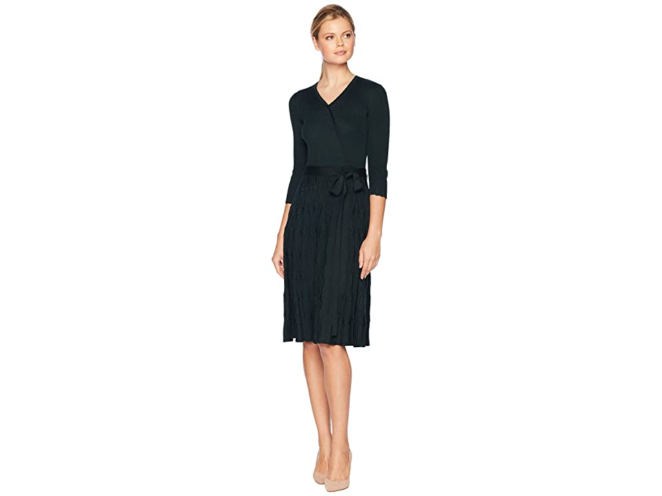 Gabby Skye Fit Flare w/ Sash Sweater Dress (Hunter) Women