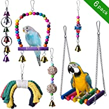 Bird Swing Parakeet Toys, 6pcs Parrot Chewing Hanging Bell Toys Bird Cage Perch Toys for Small Parakeets Parrots, Cockatiels, Conures, Macaws, Parrots, Finches, Love Birds