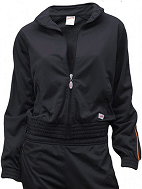 Soffe Girl's Warm-Up Jacket, Black/Orange, Small