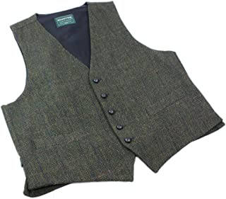 Mucros Men's Irish Tweed Vest Green Herringbone Wool Full Back Made in Ireland