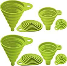 Best Kitchen Collapsible, 4 Flexible Silicone Funnels, Large And Small Funnel Set, For Oil, Food And Water Bottles, BPA-Free + Brush and Recipes E-Book | By Lebice (4 colors) Review