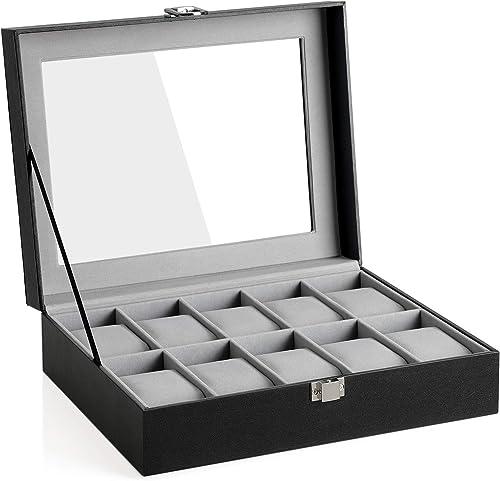 SONGMICS JWB010BK Boîte à montres avec couvercle en verre et coussin de montre amovibles, doublure en velours, fermet...