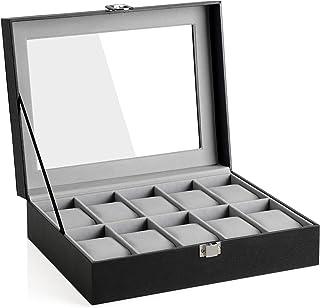 SONGMICS JWB010BK Boîte à montres avec couvercle en verre et coussin de montre amovibles, doublure en velours, fermeture e...