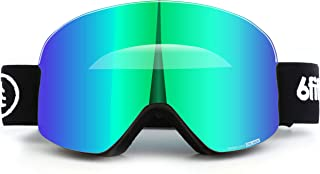 6fiftyfive Ski Goggles Men & Women - Frameless, Wide View, Magnetic Quick Change Lens, 100% UV400, Anti Fog, OTG