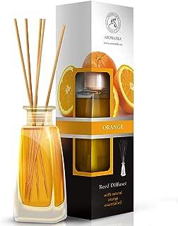 Orange Diffuser w/Orange Oil 100ml - Fresh Room - Long Lasting Fragrance - Scented Reed Diffuser Orange - Diffuser Gift Set - Best for Aromatherapy - Home - Orange Essential Oil Diffuser by AROMATIKA