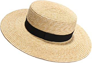 Womens' Panama Sun Hat Boater Handwoven Straw Hat for Summer