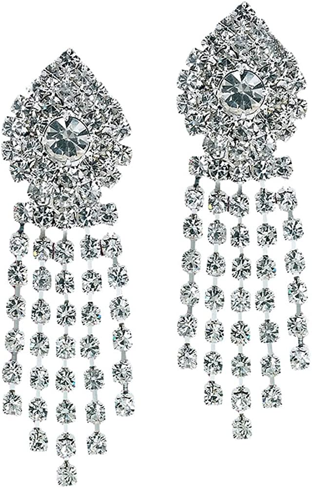 Long Rhinestone Crystal List price Clip on Max 68% OFF Strands C Earrings Rows Multiple