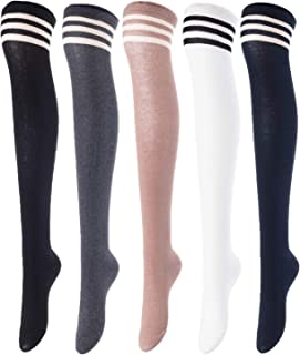 Big Girl's Women's 5 Pairs Over Knee High Thigh High Cotton Socks Size 5-9 A1022