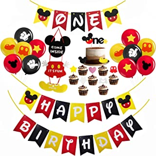 Mickey Mouse First Birthday Decorations Set, Mickey Mouse Happy Birthday Banner, Mickey Mouse One Banner, Mickey Mouse One Cake Topper, Baby Gilr Boy Mickey Mouse Theme 1st Birthday Party Supplies Decorations with 12 Pcs Latex Balloons