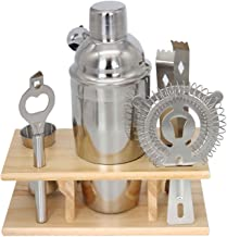 Premium Stainless Steel Cocktail Shaker Bartender Tool Set with Wooden Storage Stand - Cocktail Shaker, Cocktail Strainer,...