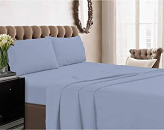 21 inches EXTRA DEEP POCKET - 1200 Thread Count Egyptian Cotton Sheet Set, 1200TC, California King, Solid Blue