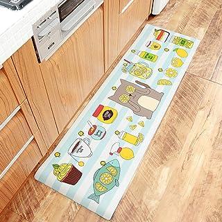 Moder Kitchen Carpet Waterproof Oilproof PVC Cartoon Mat Kitchen Floor Door Mat Anti-Slip Mats Home Entrance Front Door Do...