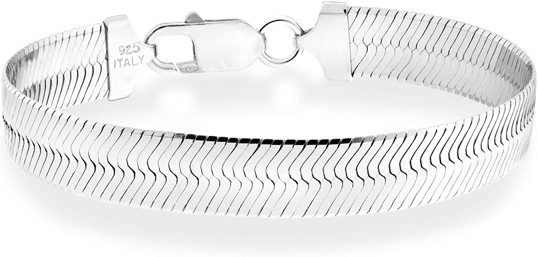 Miabella El National uniform free shipping Paso Mall 925 Sterling Silver Italian Flat Solid Herringbone 10mm